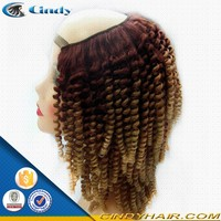 wholesale fashion indian remi hair short kinky curly u part wig for black women