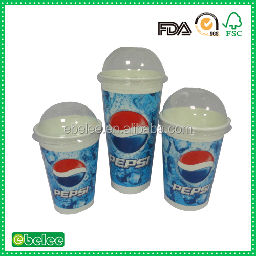 12oz 16oz 22oz cold drink paper cup with clear dome lid