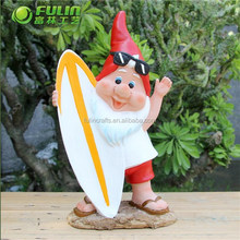 """Resin Garden Decoration """" Gnome and Surfboard """" 11"""""""