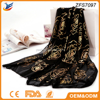 hot stamping silk style solid color golden rose scarf