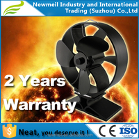 Neat833/834 High Airflow Heat Powered Stove Fan Black Blades Wood Burning Fan