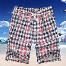 2015 new mens fashion plaid cotton cargo shorts with adjust belt