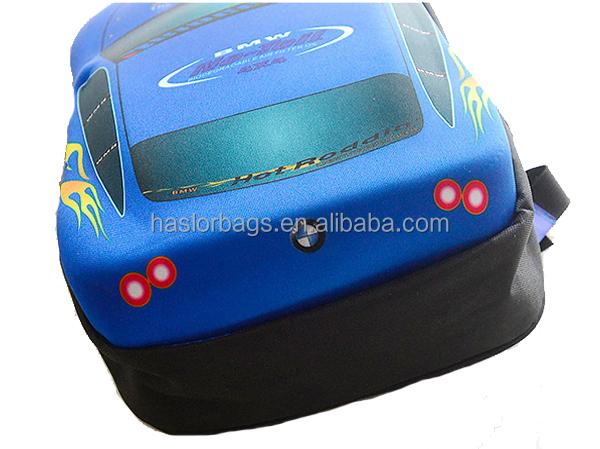 Gros mignon 3D Cartoon voiture enfants sac d'école de fantaisie