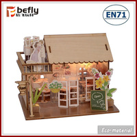 DIY light eco wood doll house with furniture