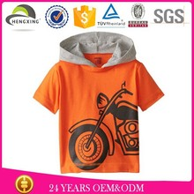 custom high quality 100% cotton baby boy t-shirt wholesale soft and comfortable baby t-shirt with hood