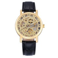 Waterproof double-sided carved hollow automatic mechanical watches luxurious leather fashion male table retro table