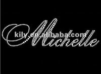 Michelle letter iron on transfers hot fix motif for Wedding decoration