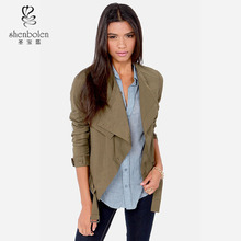 M3065 lady college jacket olive green vintage style simple design long sleeve jacket for women