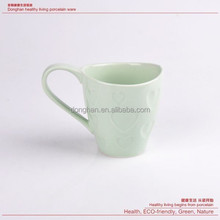 Ceramic glazed 12oz Heart shape pattern embossed cup