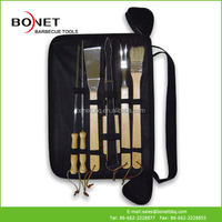 QZB0040 10Pcs Wood Handle Stainless Steel BBQ Tool Set Carry Bag