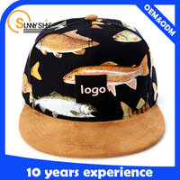 new fashion digital print pattern fabric woven label cow leather strap metal buckle custom snapback 5 panel camp hat/cap