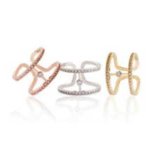 Korea Fashion Contracted Style Double Row Set Auger Opening Design Female Finger Ring