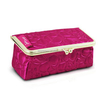 OEM Custom Lovely Floral Kiss Lock Clasp Cosmetic Case Beautiful Best Travel Bag