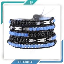 2015 Miyuki seed beads blue jade&4mm black Agate High Quality Leather 5 Wrap bracelet men's jewelry