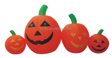 Handmade nice outdoor inflatable halloween four smile pumpkins black and gold decorations