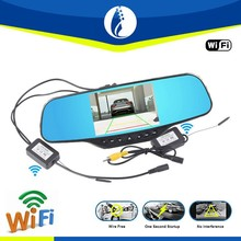 5.0 inch wire free one second startup wireless wifi rearview mirror with parking camera
