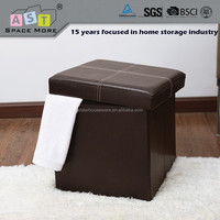 Hot selling Modern leather folding storage ottoman / storage ottoman stool