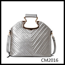 city office women metalic silver leather satchel bag