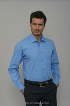 light blue and white check mens shirt 100% cotton gold supplier