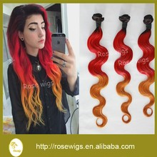 Hot 6A Ombre Brazilian Virgin Hair Body Wave Human Hair Weave 3pcs Lot Ombre 1b# Red And Yellow Remy Hair Extensions