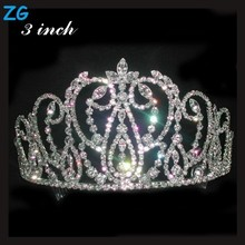 High Quality full crystal beauty pageant crown, queen's dance headpieces, crystal wedding tiara
