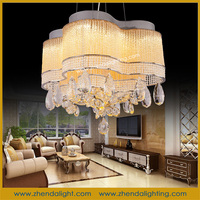 gold color crystal Stainless Steel Material European Pendant Light for home lighting D072/8+4