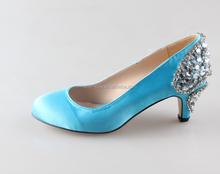 BS904 Custom Handmade Blue Rhinestones Small Low Heel Wedding Shoes High Heels Women Shoes Evening Shoes Women Pumps