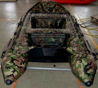 3.3m Length 3 Chambers and 1 Keel Inflatable Camouflage Fishing Boat with Bow Tent