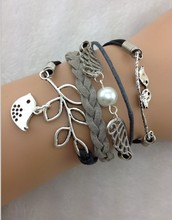 Wings & Lucky Leaf,Love Birds Charm Bracelet- Triangle Inspired Bracelet-Wax Cords, 1707Min order 10$