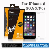 Vmax brand 9H 2.5D explosion proof Cell Phone Premium Clear tempered glass screen protector for iphone 6