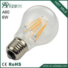 Edison high lumen 110V dimmable COG E27 6w A60 led filament lamp