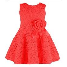 2015 Wholesale export kids sleeveless lace dress pretty princess dress girl dress