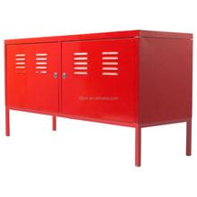 0.6 mm 2 Door Red PS Metal Cabinet With Legs, Red Steel TV Cabinet for Korea