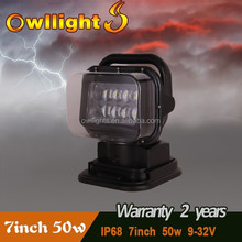 """50W LED Boat Search Light Also Fit Ship and Marine LED Light 7"""" 50w 360 Degree Remote Search Light for SUV ATV"""