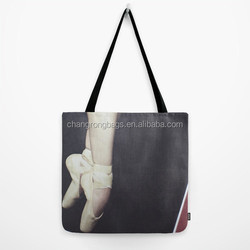 Full color custom printed cotton canvas tote bag, black cotton tote shoe bag