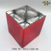 mercury square block glass candle holder