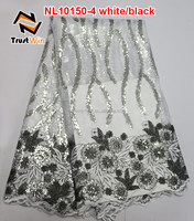 curtain wedding flowers sequin fabric tulle lace of NL10150 white black