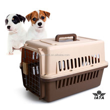 wholesale airline plastic dog cage pet carrier with wheel