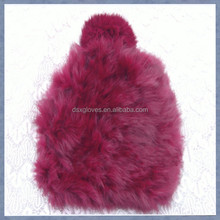 2015 Lady Burgundy Rabbit Fur Caps