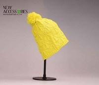 Acrylic Yellow Knitted crochet beanie