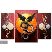 Handmade New Modern Group dragon oil painting, Wall painting Valiant dragon