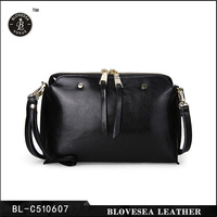 Korea Style Fashion Rivet Split Leather Ladies Fancy Hand Purse