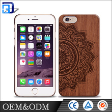 Mobile accessories laser engraving custom design Plastic wooden cell phone case for iphone 6 case wood factory price