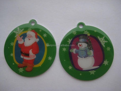 Merry X'mas Santa Snowman silk screen printing hanging ornament