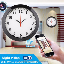 2015 round P2P wall clock with wide angle camera wifi link remote monitor for India,Europe market