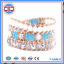 High Quality Fashion Jewelry Wrap Beaded Bracelets 5 Wrap Leather New Bracelet Handcraft Weave