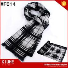 Men's checked thicken fashion decentl viscose scarves