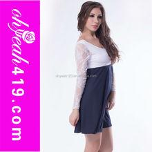 Wholesale charming long sleeve open back dress