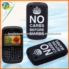 For Blackberry Curve 8520 Black Crown Laser cut Silicone Cell phone Case