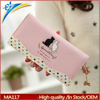 New branded wallet with black white cat decoreation Dot female clutch purses